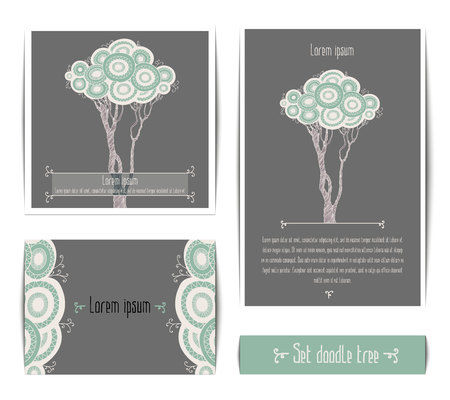 cutwork: Vector set of invitation cards with doodle tree as lace. Design invitation templates. Illustration