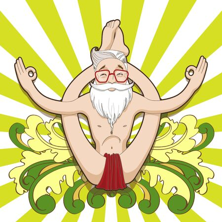 asana: Young smiling man meditating in a yoga pose on psichedelic background. Asana Dwi Pada Sirsasana. Illustration
