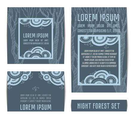 marriage night: Design invitation templates with silhouette of tree. Vector set of invitation cards and place for text.  Illustration in light-blue color on dark background.