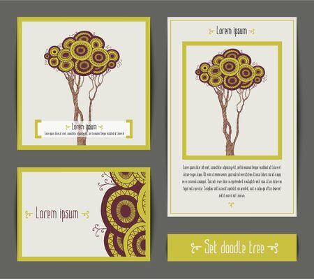 ecru: Vector set of invitation cards with doodle tree. Design invitation templates. Vector illustration in beige, green and brown color in eco stile.