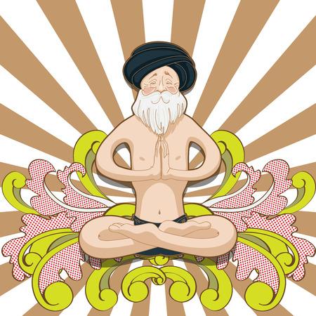 kundalini: Happy smiling old man make practice in a yoga lotus pose. Vector illustration of cards for design. Hindu training meditation on colorful background. Illustration