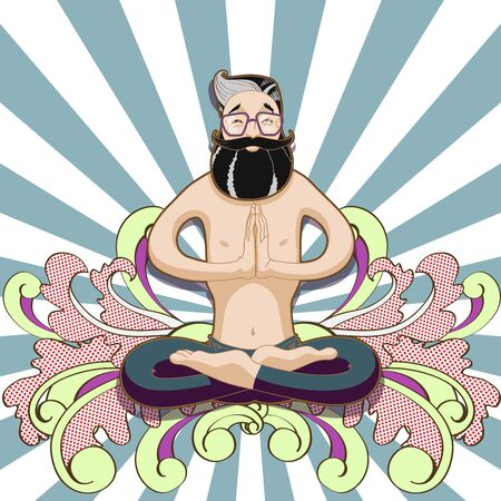 kundalini: Young smiling man meditating in a yoga lotus pose on psichedelic background. Vector illustration of cards for design kundalini yoga. Illustration