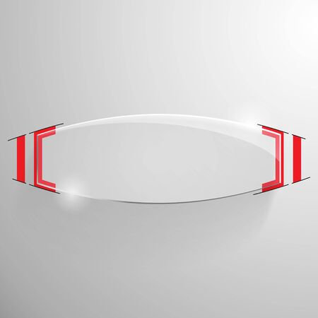 truncated: Vector glossy truncated ellipse banner with red line designe on the monochrome background.