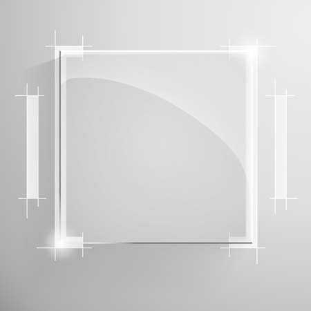 austere: Vector glossy square banner with white technical lines drawing services on the monochrome background.