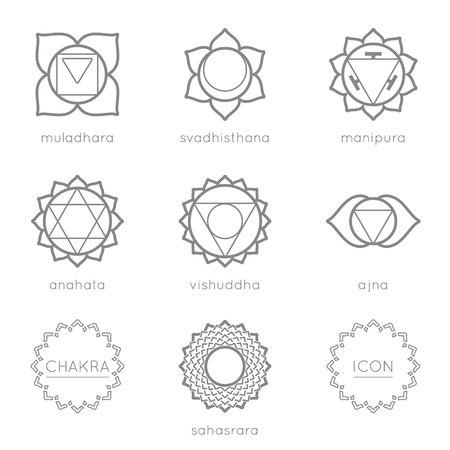 visuddha: Set of universal chakras icons at flate design.