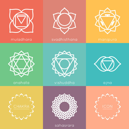 svadhisthana: Set of universal chakras icons at flate design with chakras color.