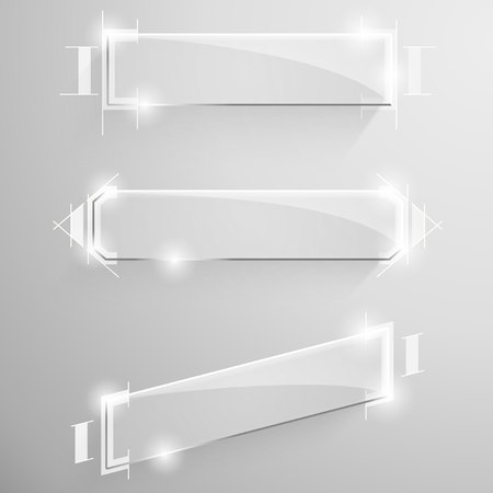 beveled: Set of vector glossy beveled rectangular banner with white design lines drawing services on the background.