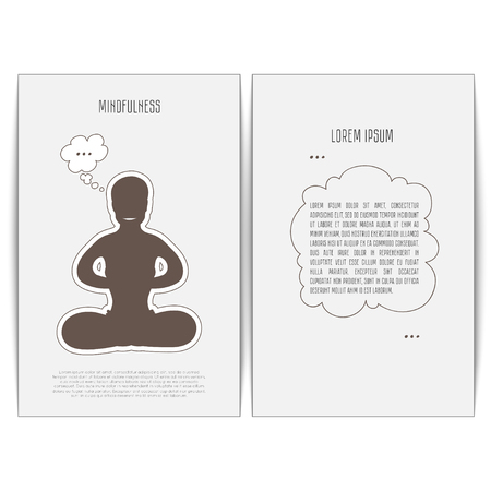 concise: Mindfulness is in a yoga pose Padmasana. Yogi meditating on simple white background. Vector illustration of cards for design and place for text. Front and back.