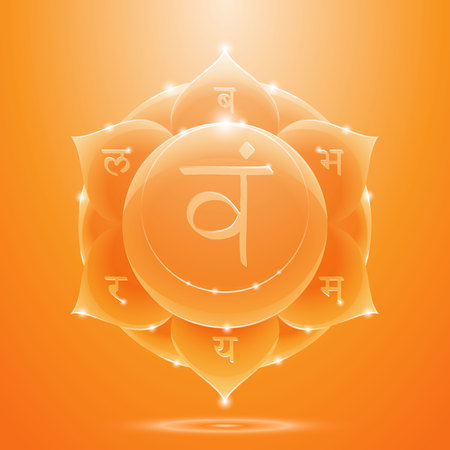 sacral: Vector illustration svadhisthana. Chakra glossy icon. The concept of orange sacral chakra for design at India stile.