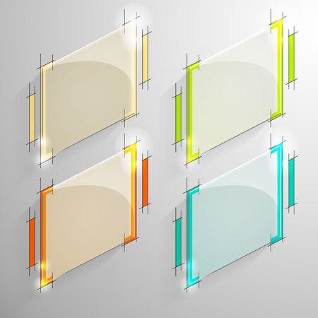 designe: Set of vector glossy lozenge banner with colorful line designe on the monochrome background.