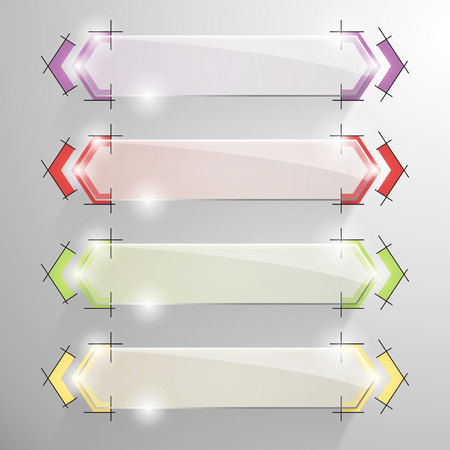constructive: Set of vector glossy arrow banner with colorful constructive lines on the background. Yellow, red, violet, green drawing services.