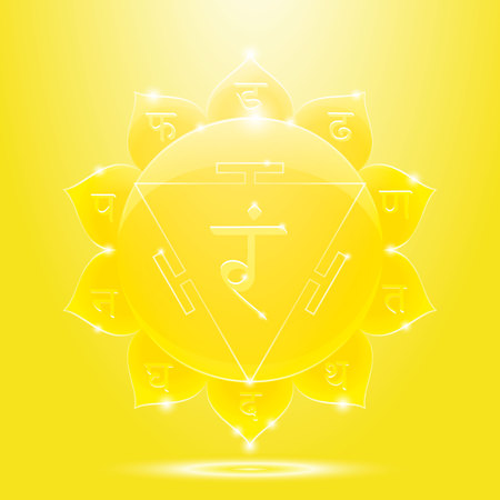 sanskrit: Vector illustration manipura. Chakra glossy icon . The concept of yellow root chakra for design at India stile. Illustration
