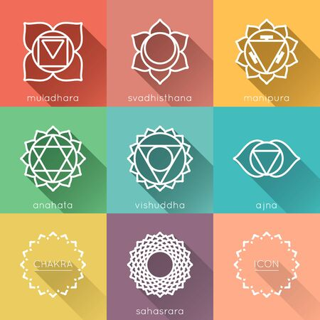 vishuddha: Set of universal chakras icons at flate design with shadow Illustration