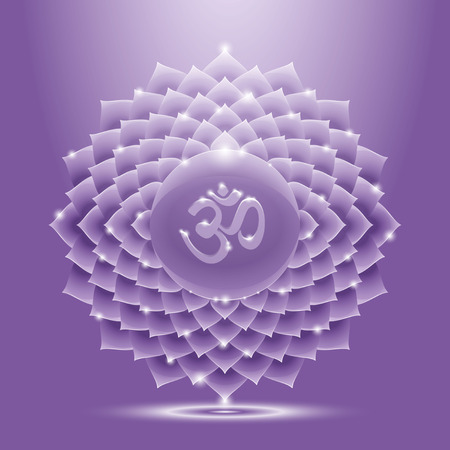 Vector illustration sahasrara with om mantra. Chakra glossy icon. The concept of violet crown chakra for design at India stile.