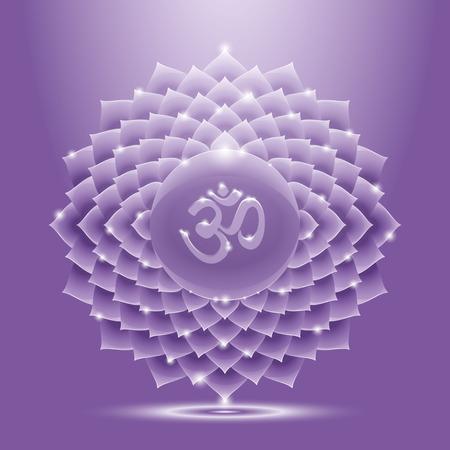 Vector illustration sahasrara avec mantra om. Chakra glossy icon. Le concept de la couronne chakra violet pour la conception à l'Inde stile.