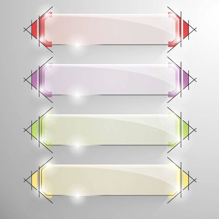 constructive: Set of vector glossy bevelded banner with designe constructive lines on the background. Yellow, red, violet, green lines.