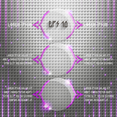 glass panel: Vector illustration background with round glass panel and violet technical line