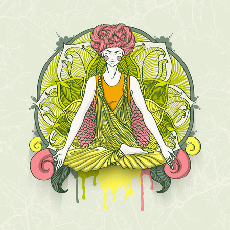kundalini: girl with turban sitting in Lotus pose with ornate mandala on background. illustration card for yoga and mindfulness consent.