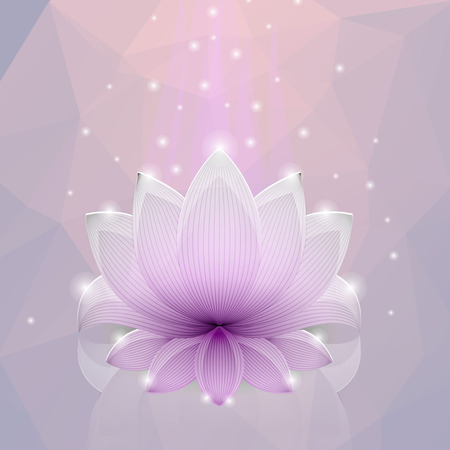 kundalini meditation: Pink lotus in the glass polygon background. The symbol of prosperity.