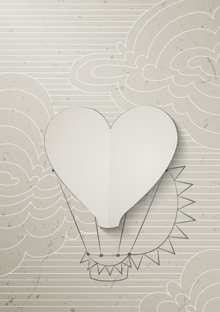 air baloon: paper Air Baloon with shape of Heart fly between white clouds