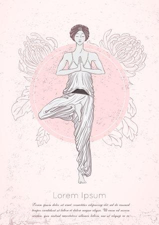 mindfulness: girl with turban stay at vrikshasana pose with flower on background. illustration card for yoga and mindfulness consent. Illustration
