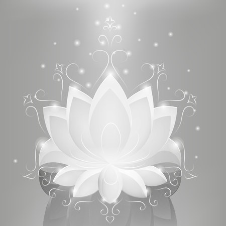neon plant: White glass lotus on the abstract background with neon lines.