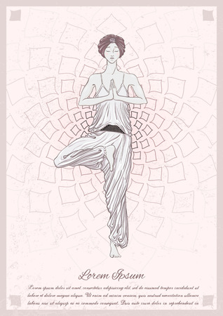 mindfulness: Beautiful girl with turban stay at vrikshasana pose with graphic mandala on background. illustration card for yoga and mindfulness consent.