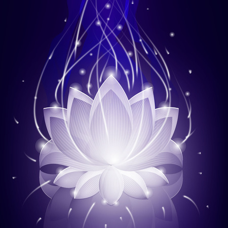 neon plant: Neon abstract lotus on the glass background. Vector