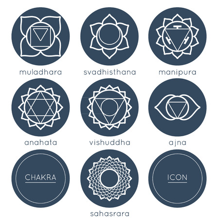 anahata: Set of universal esoteric chakras icons in monochrome