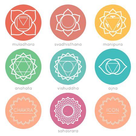 visuddha: Set of universal round chakras icons at flate design with chakras color.