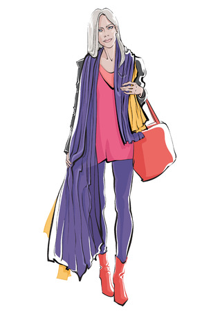 Stylish hand drawing woman with shopping bag. Vector illustration.