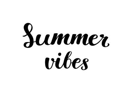 Summer vibes - Brush handwritten lettering. Vector illustration for T-shirt, poster, banner, greeting card or photography overlay.