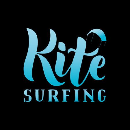Kitesurfing hand written lettering logo. Vector illustration for banner, poster, flayer, clothes, t-shirt