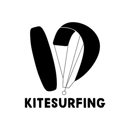 Kitesurfing hand written lettering logo. Vector illustration for banner, poster, flayer, clothes. Illustration