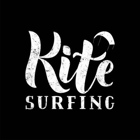Logotipo de letras texturizadas escritas a mano de kitesurf. Ilustración de vector de banner, cartel, flayer, ropa, camiseta