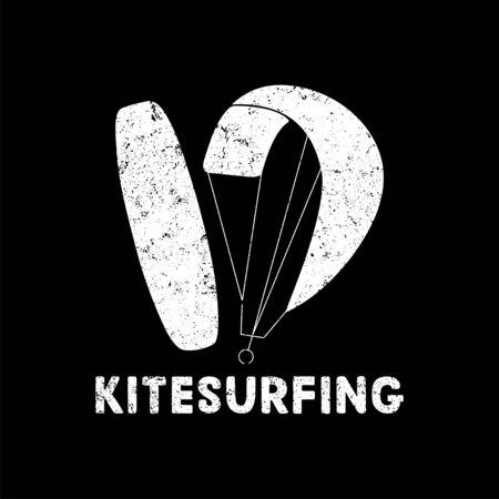 Kitesurfing hand written lettering logo with texture. Vector illustration for banner, poster, print, flayer, clothes.