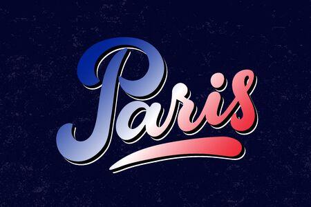 Paris hand lettering vector illustration in colors of the national flag of France. Modern brushpen calligraphy for t-shirt, banner, poster, flyer, postcard, print, fridge magnet