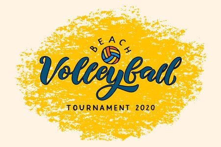 Beach volleyball hand written lettering logo with ball. Vector illustration for banner, poster, flayer, clothes.