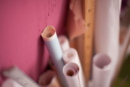 Paper rolls. Patterns in the sewing workshop.