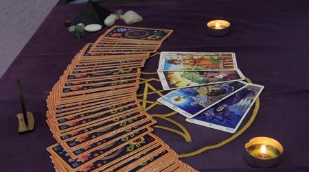 Tarot cards, magic, divination, prediction Stock Photo