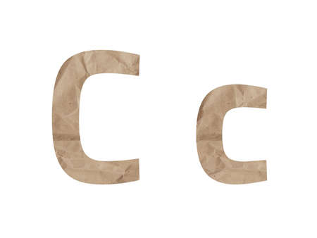 Letter C font alphabet Lettring isolated on white. Crumpled wrapping paper textured effect, crease crack bruising. Isolate paper letter latin english