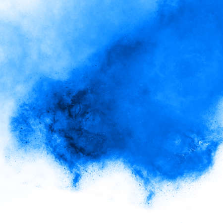 Blue color watercolor splash, bright expressive abstract background wallpaper backdrop texture. Watercolor on white paper with different aquarelle hue monochrome Stock Photo