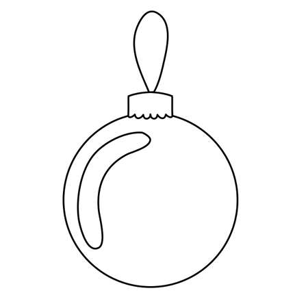 Ball Christmas decoration for the tree. Black and white lineart. Simple linear freehand drawing, glass ball with rope for christmas tree decoration