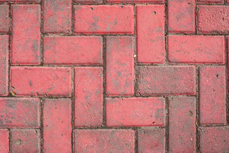 Pavement texture, masonry hog red brick surface. Textured effect, weathered track outdoor, background backdrop design Banco de Imagens