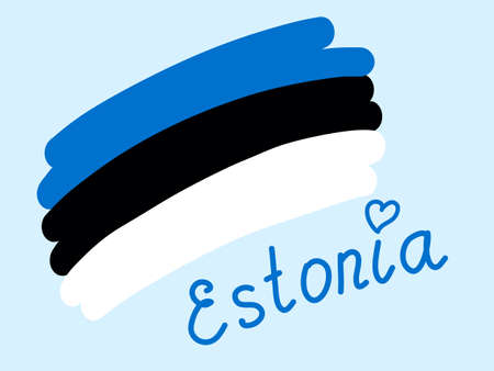 National flag of the state of Estonia with heart, vector illustration freehand. Simple stylized Estonia flag blue black white