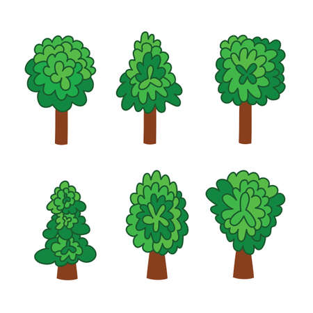 Set of green deciduous trees doodle cartoon style, isolate clipart on white. Vector illustration environment nature tree trunk foliage with stroke