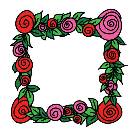 Square frame with round stylized flowers, a wreath of red rose blossom with green leaves. Simple flat illustration with stroke, isolate on white
