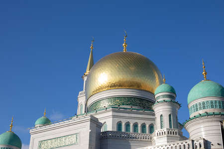 Moscow cathedral mosque main golden dome close-up