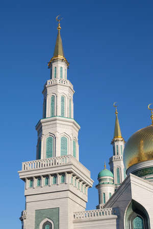 White Minaret Moscow Cathedral Mosque, vertical photo.