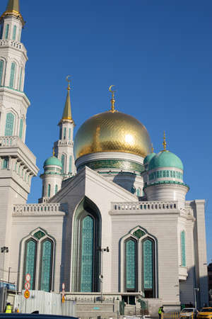 The Great Moscow Cathedral Mosque, vertical photography. The largest Muslim religious building in Russia